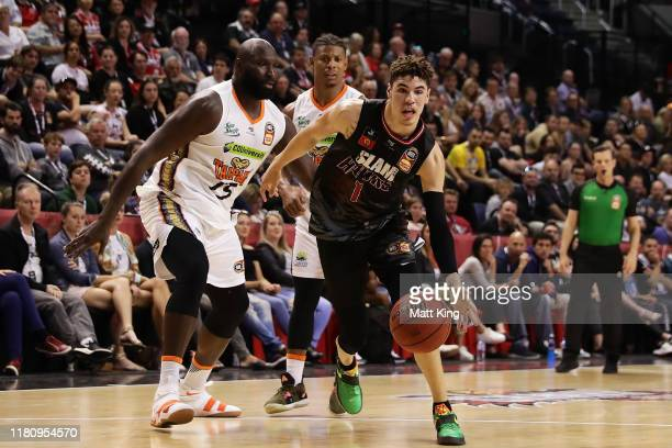 Lamelo Ball of the Hawks drives to the basket during the round two NBL match between the Illawarra Hawks and the Cairns Taipans at Wollongong...