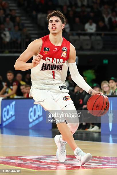 LaMelo Ball of the Hawks handles the ball during the round three NBL match between the South East Melbourne Phoenix and the Illawarra Hawks on...