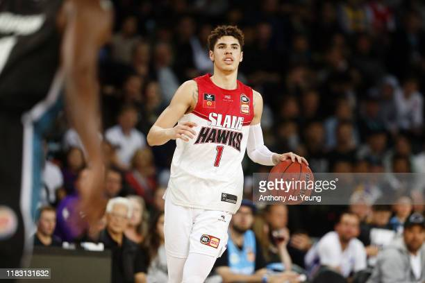 LaMelo Ball of the Hawks in action during the round four NBL match between the New Zealand Breakers and the Illawarra Hawks at Spark Arena on October...