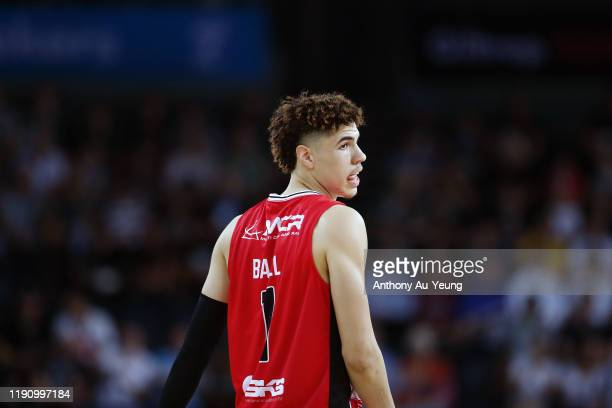 LaMelo Ball of the Hawks looks on during the round 9 NBL match between the New Zealand Breakers and the Illawarra Hawks at Spark Arena on November...