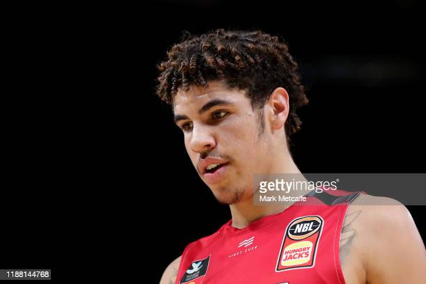 LaMelo Ball of the Hawks looks on during the round seven NBL match between the Sydney Kings and the Illawarra Hawks at Qudos Bank Arena on November...