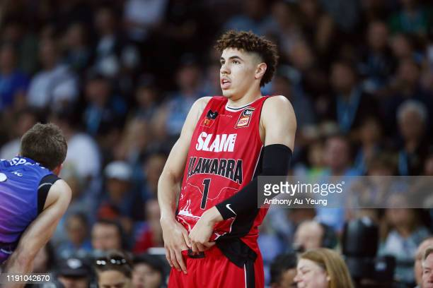LaMelo Ball of the Hawks reacts during the round 9 NBL match between the New Zealand Breakers and the Illawarra Hawks at Spark Arena on November 30,...