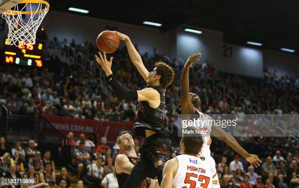 Lamelo Ball of the Hawks rebounds during the round four NBL match between the Illawarra Hawks and the Perth Wildcats at Wollongong Entertainment...