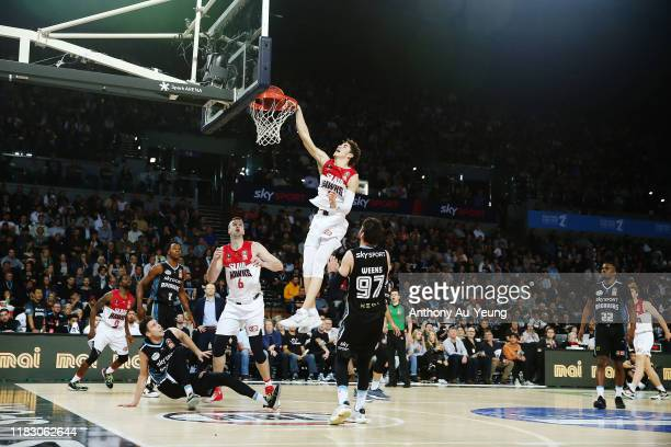LaMelo Ball of the Hawks with a put back dunk during the round four NBL match between the New Zealand Breakers and the Illawarra Hawks at Spark Arena...