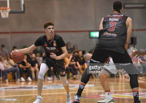 LaMelo Ball of the Illawarra Hawks looking to pass during the NBL Blitz preseason match between Illawarra Hawks and Perth Wildcats at Kingborough...