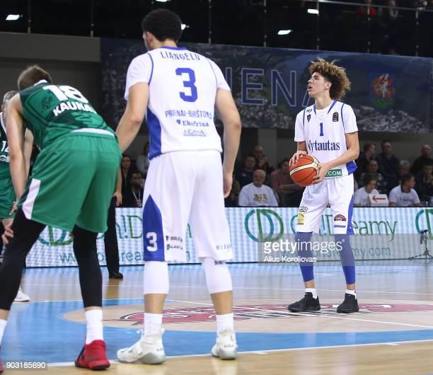 LaMelo Ball of Vytautas Prienai in action during the match between Vytautas Prienai and Zalgiris Kauno on January 9 2018 in Prienai Lithuania