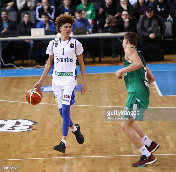 LaMelo Ball of Vytautas Prienai in action during the match between Vytautas Prienai and Zalgiris Kauno on January 9 2018 in Prienai Lithuania