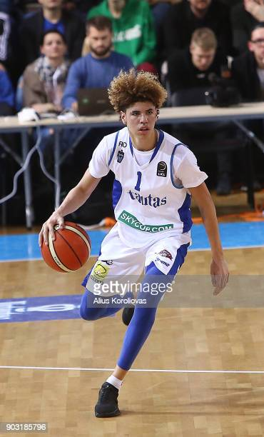 LaMelo Ball of Vytautas Prienai in action during the match between Vytautas Prienai and Zalgiris Kauno