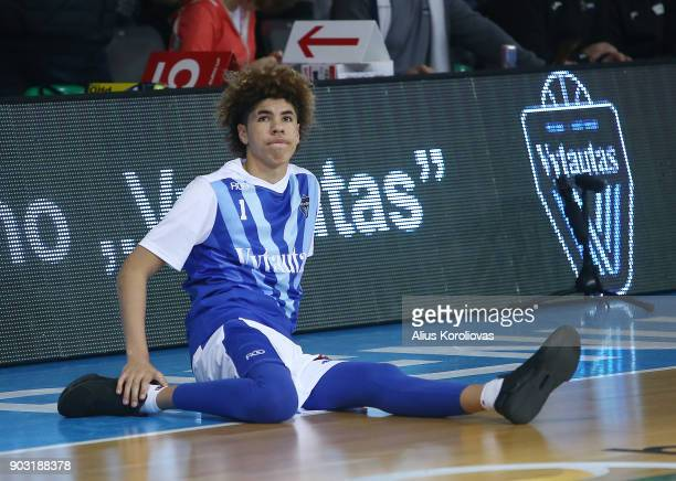 LaMelo Ball of Vytautas Prienai prior to the match between Vytautas Prienai and Zalgiris Kauno on January 9 2018 in Prienai Lithuania