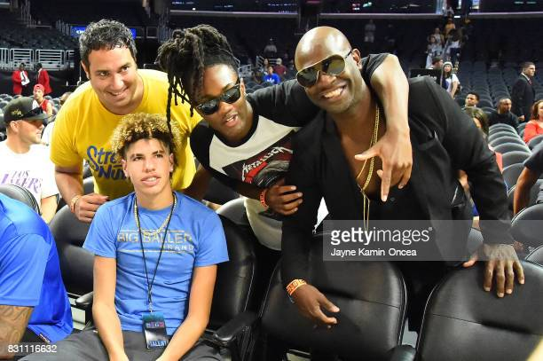 LaMelo Ball poses with fans for a photo during week eight of the BIG3 three on three basketball league at Staples Center on August 13 2017 in Los...