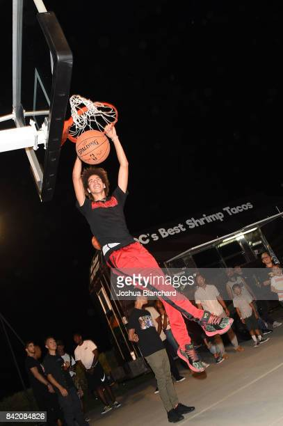 LaMelo Ball slam dunks at Melo Ball's 16th Birthday on September 2 2017 in Chino California