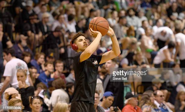 LaMelo Ball warming upduring the NBL Blitz preseason match between Illawarra Hawks and Perth Wildcats at Kingborough Sports Centre on September 20...