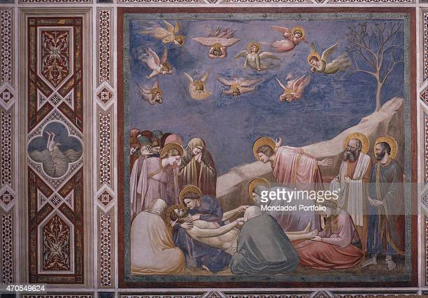 'Lamentation of Christ by Giotto 13031305 14th Century fresco Italy Veneto Padua Scrovegni Chapel After restoration picture Whole artwork view Jesus...