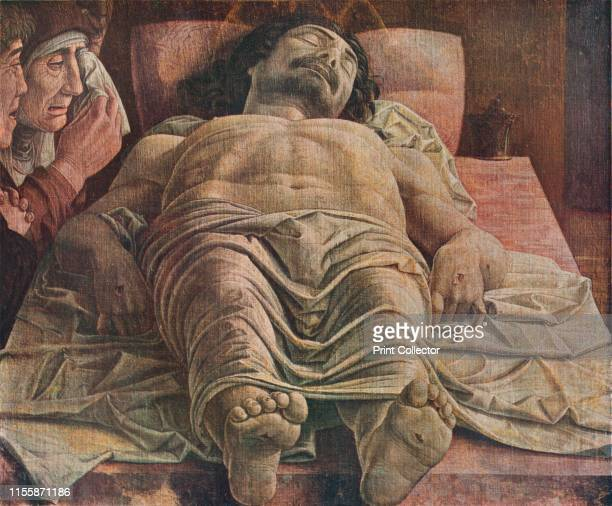 Lamentation over the Dead Christ', 1470-1474, . Dramatically foreshortened view of the body of Jesus Christ, showing his stigmata. Painting in the...