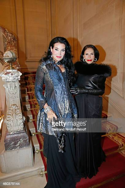 Lamia Khashoggi and Mouna Ayoub attend The Children for Peace Gala at Cercle Interallie on December 12 2014 in Paris France