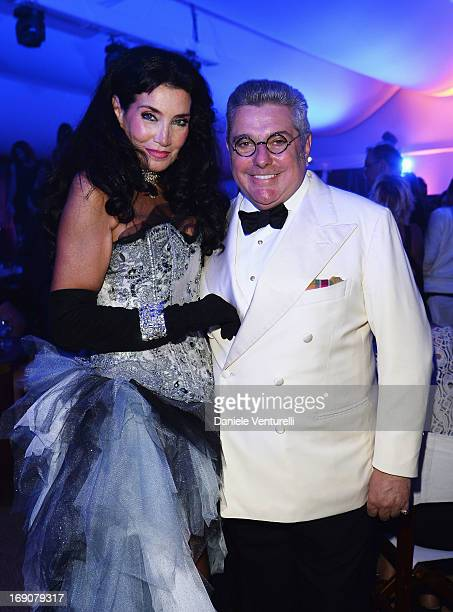 Lamia Khashoggi and Nunzio Alfredo D'Angieri attend the Eva Longoria Global Gift Gala after party hosted by Nikki Beach Cannes during The 66th Annual...