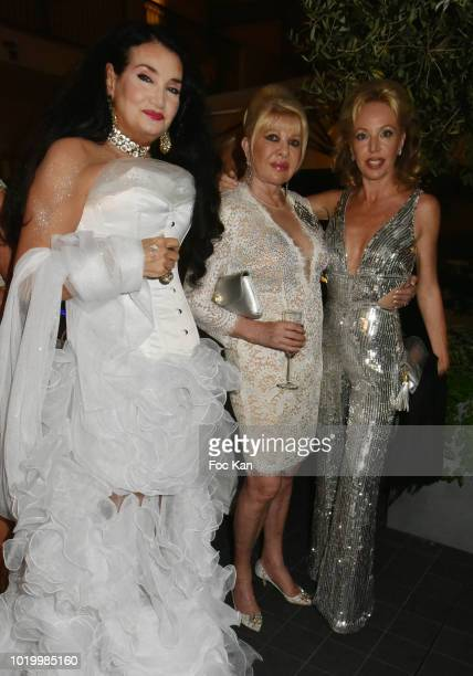 Lamia Khashoggi Ivana Trump and Camille de Bourbon des deux Siciles attend the Massimo Birthday Party On French Riviera on August 19 2018 in...