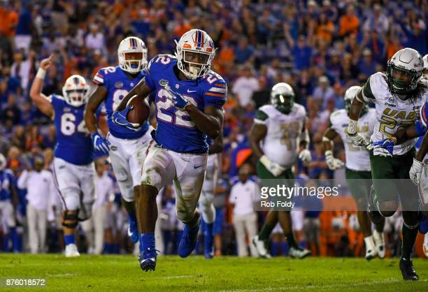 Lamical Perine of the Florida Gators rushes for a touchdown during the third quarter of the game against the UAB Blazers at Ben Hill Griffin Stadium...