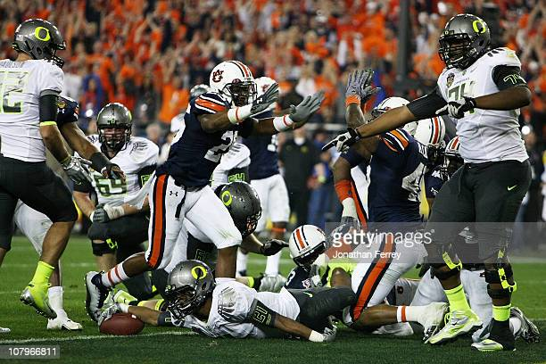 LaMichael James of the Oregon Ducks can't get the ball out of the endzone and the Auburn Tigers score a safety in the second quarter of the Tostitos...