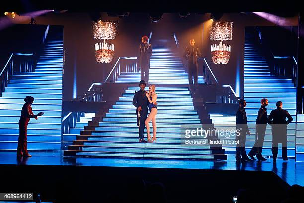 LaMichael Leonard Jr Charlene Klemm and Dancers perform on stage during the 'Paris Merveilles' Lido New Revue Opening Gala on April 8 2015 in Paris...