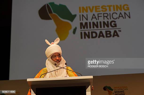 Lamido Sanusi Emir of Kano in Nigeria and Chairman of the Black Rhino Group speaks on the first day of the Mining Indaba 2016 Conference on February...