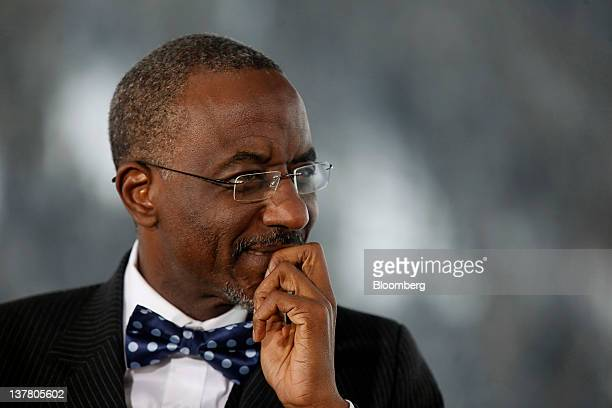 Lamido Sanusi governor of the Central Bank of Nigeria listens during a television interview on day three of the World Economic Forum in Davos...