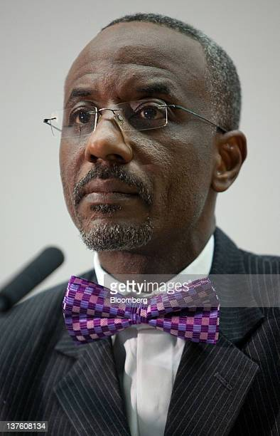 Lamido Sanusi governor of the Central Bank of Nigeria pauses during the Sir Patrick Gillam lecture about the economic problems of subSaharan Africa...