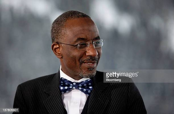 Lamido Sanusi governor of the Central Bank of Nigeria smiles during a television interview on day three of the World Economic Forum in Davos...