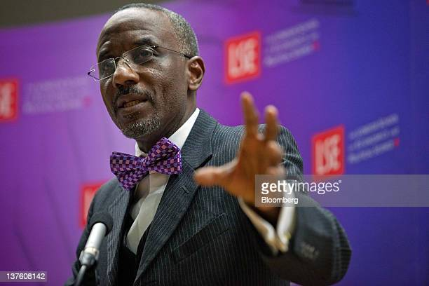 Lamido Sanusi governor of the Central Bank of Nigeria speaks during the Sir Patrick Gillam lecture about the economic problems of subSaharan Africa...