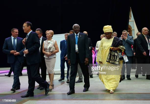 Lamime Diack IAAF president and wife Bintou Diack arrive during the opening ceremony of the 49th IAAF Congress at Gostiny Dvor on August 6 2013 in...