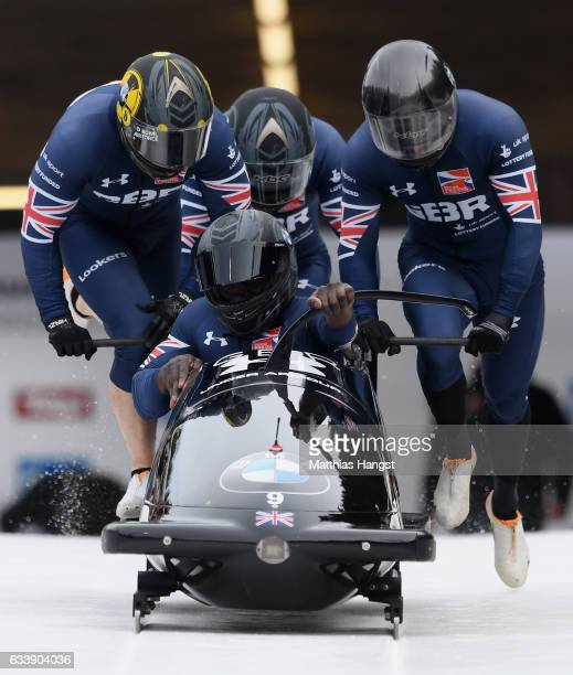 Lamin Deen Ben Simons John Baines and Andrew Matthews of Great Britain compete during the first run of the 4man Bobsleigh BMW IBSF World Cup at...