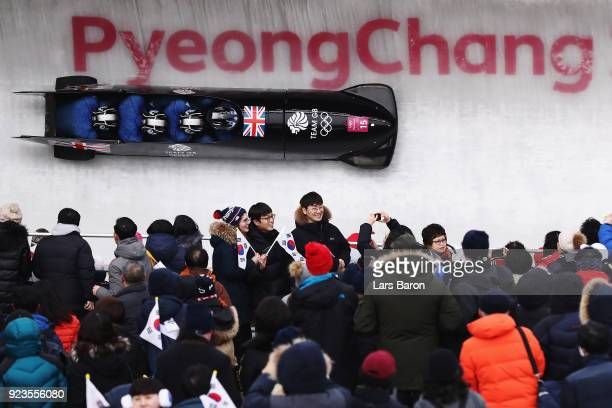 Lamin Deen Ben Simons Toby Olubi and Andrew Matthews of Great Britain compete during 4man Bobsleigh Heats on day fifteen of the PyeongChang 2018...