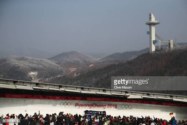 Lamin Deen Ben Simons Toby Olubi and Andrew Matthews of Great Britain make a run during the 4man Boblseigh Heats on day sixteen of the PyeongChang...