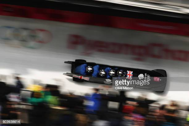 Lamin Deen Ben Simons Toby Olubi and Andrew Matthews of Great Britain make a final run during the 4man Boblseigh Heats on day sixteen of the...