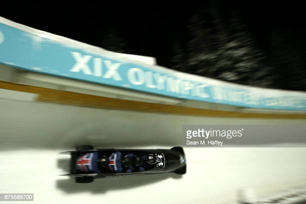 Lamin Deen Ben Simons Toby Olubi and Joel Fearon of Great Britain compete in the 4Man Bobsled during the BMW IBSF Bobsleigh and Skeleton World Cup at...