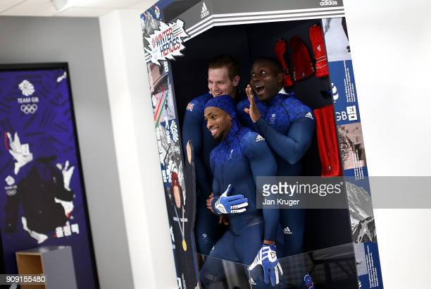 Lamin Deen Bradley Hall and Joel Fearon share a joke during the Team GB Kitting Out Ahead Of Pyeongchang 2018 Winter Olympic Games at Adidas...