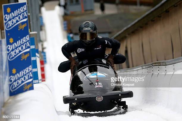 Lamin Deen John Baines Joel Fearon and Andrew Matthews of Great Britain compete in their second run of the four men's bob competition during the BMW...