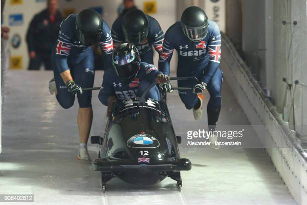 Lamin Deen of Great Britain competes with Ben Simons Samuel Blanchet and Andrew Matthews at Deutsche Post Eisarena Koenigssee during the BMW IBSF...