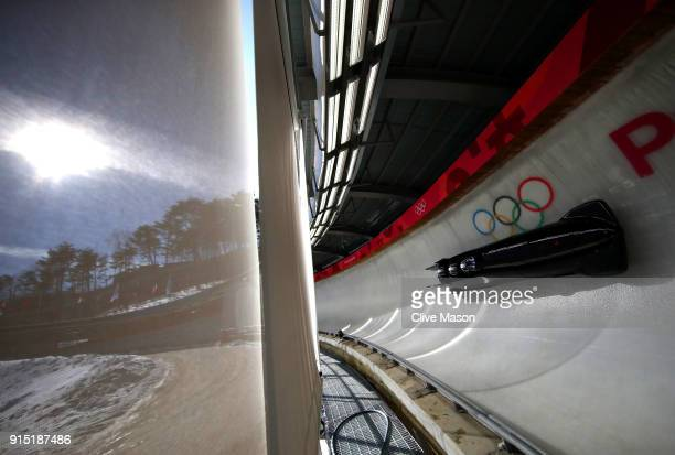 Lamin Deen of Great Britain trains during Bobsleigh practice ahead of the PyeongChang 2018 Winter Olympic Games at Olympic Sliding Centre on February...