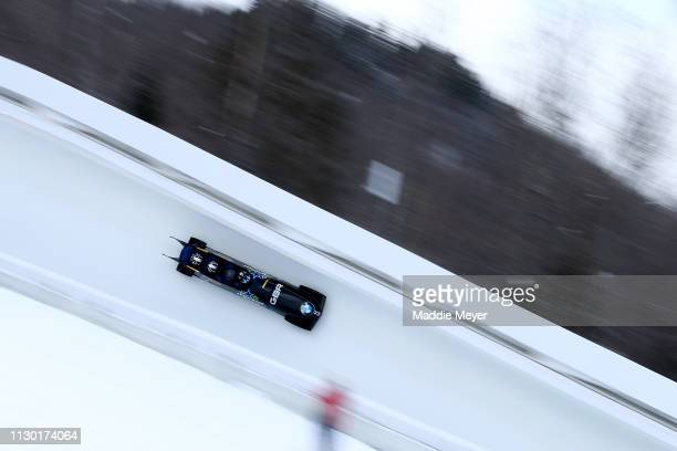 Lamin Deen Ryan Letts Toby Olubi and Tremayne Gilling of Great Britain slide during the first run of the 4man bobsleigh competition on day 2 of the...