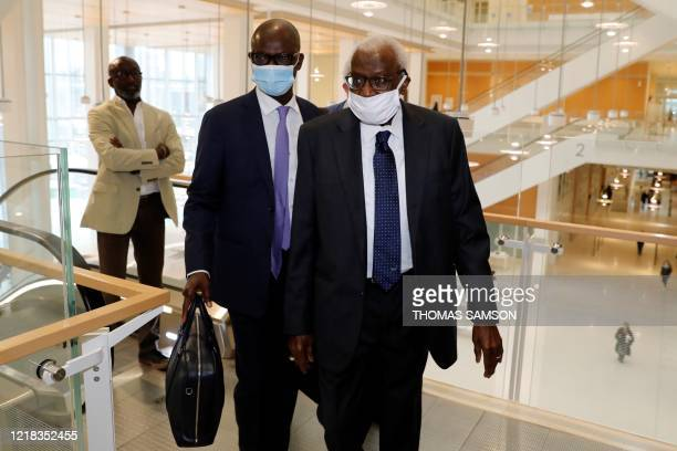 Lamine Diack, former head of International Association of Athletics Federations , from 1999 to 2015, arrives at the courthouse in Paris on June 8 for...