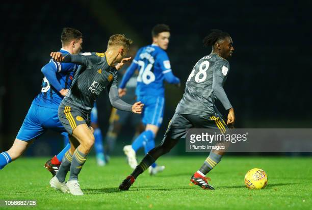 Lamine Kaba Sherif and Kiernan DewsburyHall of Leicester City in action with Daniel Adshead of Rochdale during the Checkatrade Trophy tie between...