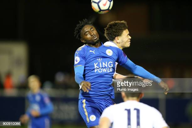 Lamine Kaba Sherif of Leicester City in action with Luke Amos of Tottenham Hotspur during the Premier League 2 match between Leicester City and...