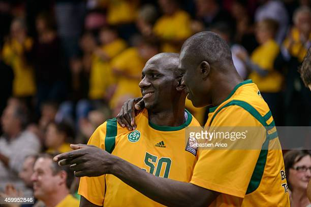 Lamine Kante #50 of Limoges CSP at the end of the 20142015 Turkish Airlines Euroleague Basketball Regular Season Date 8 game between Limoges CSP vs...