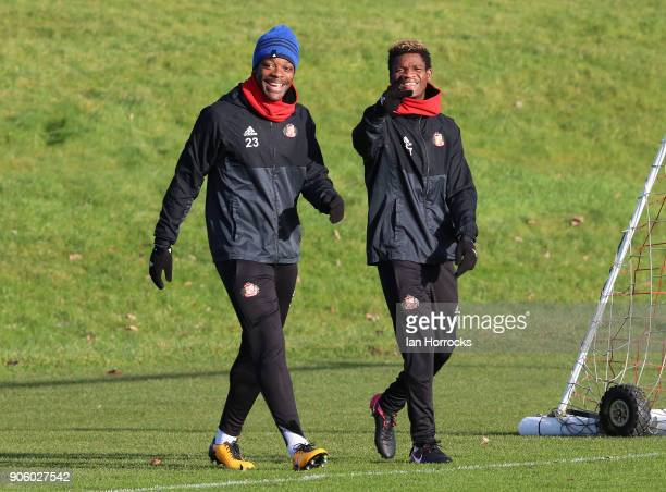 Lamine Kone and Didier N'Dong walk out to train during a Sunderland AFC training session at The Academy of Light on January 17 2018 in Sunderland...
