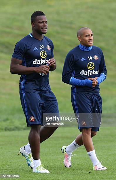 Lamine Kone and Wahbi Khazri during a Sunderland AFC training session at The Academy of Light on August 10 2016 in Sunderland England
