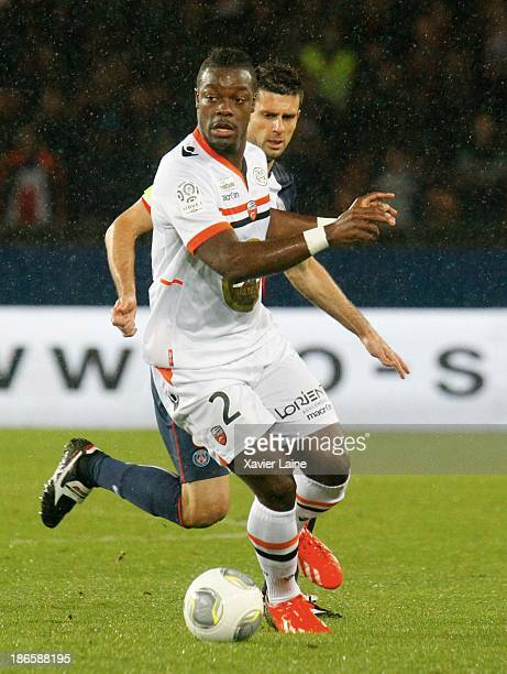 Lamine Kone of Lorient FC during the French League 1 between Paris SaintGermain FC and Lorient FC at Parc des Princes on November 1 2013 in Paris...
