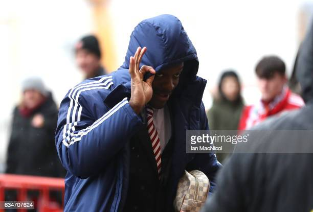 Lamine Kone of Sunderland arrives at the stadium prior to the Premier League match between Sunderland and Southampton at Stadium of Light on February...