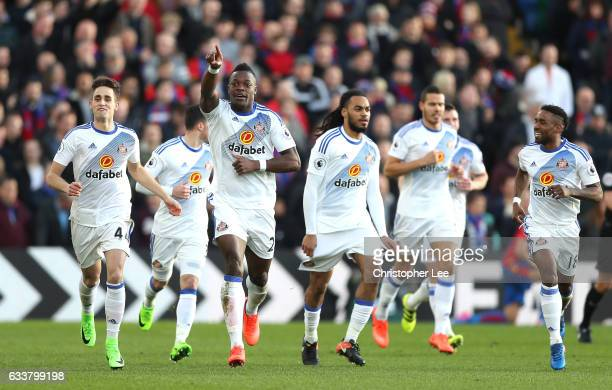 Lamine Kone of Sunderland celebrates scoring his sides first goal during the Premier League match between Crystal Palace and Sunderland at Selhurst...
