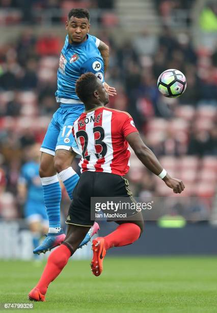 Lamine Kone of Sunderland controlls the ball under pressure from Joshua King of AFC Bournemouth during the Premier League match between Sunderland...
